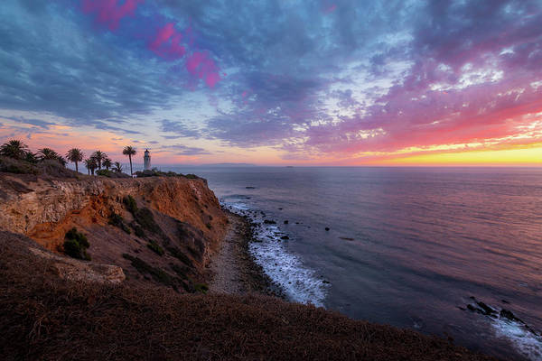Colorful Sky After Sunset At Point Vicente Lighthouse Poster