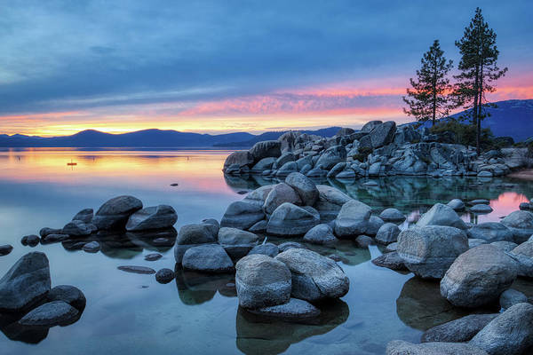 Colorful Sunset At Sand Harbor Poster