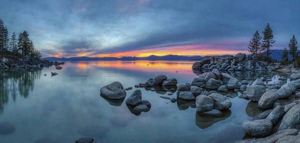 Colorful Sunset At Sand Harbor Panorama Poster