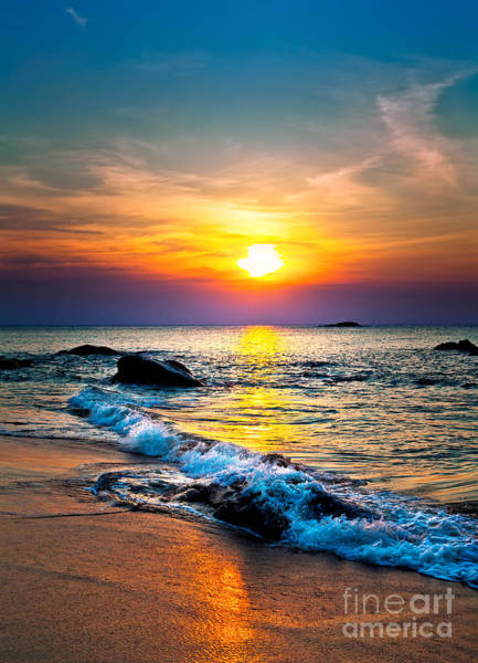 Colorful Sunset Over The Sea Poster