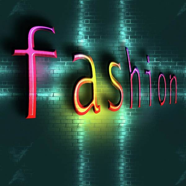 Colorful Word Fashion On Blue Reflecting Metallic Background. Poster