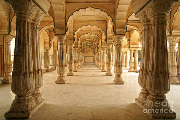 Columned Hall Of Amber Fort. Jaipur Poster