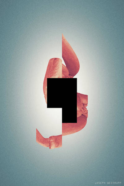 Comma - Surreal Abstract Crab Shell With Square Shape Poster