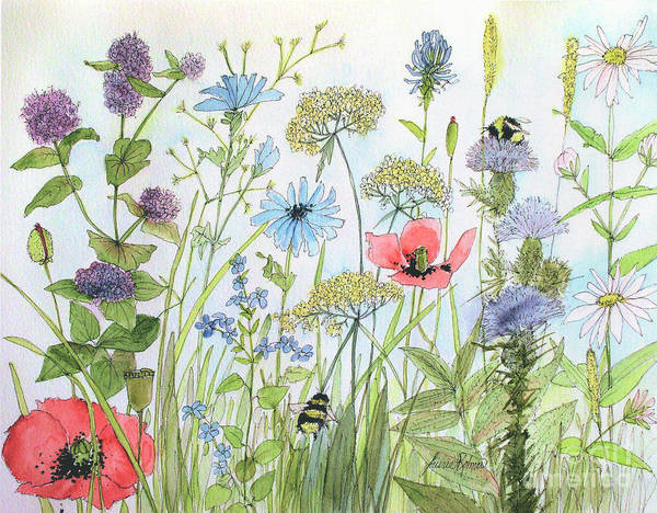 Cottage Flowers And Bees Poster