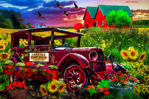 Country Market Painting Poster