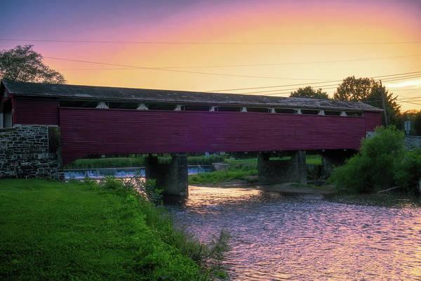 Covered Bridge Sunset Poster