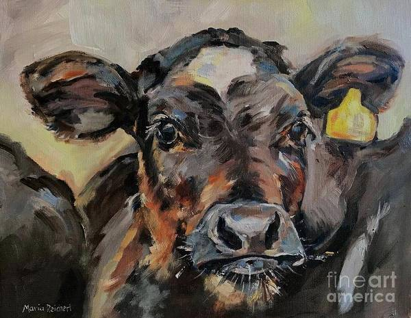 Cow In Oil Paint Poster