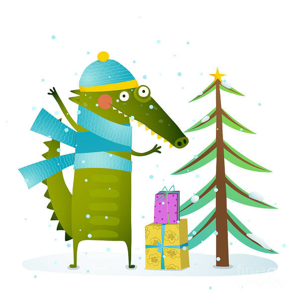 Crocodile Wearing Winter Warm Clothes Poster