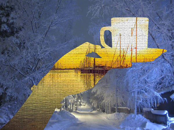 Cup Of Tea In The Winter Evening Poster