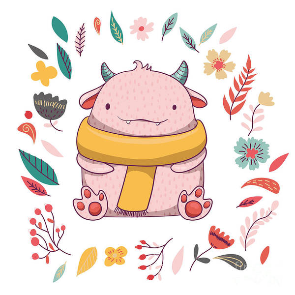 Cute Fluffy Monster With Horns Poster