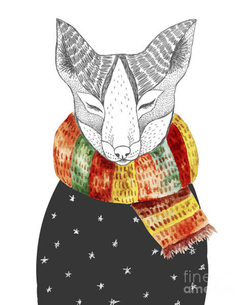 Cute Fox In Scarf. Vector Watercolor Poster