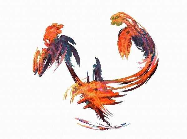 Dance Of The Birds Orange Poster