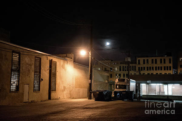 Dark Chicago City Alley At Night With The Moon Poster