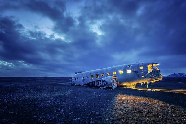 Dc-3 Plane Wreck Illuminated Night Iceland Poster