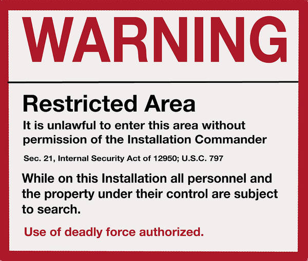 Deadly Force Warning Sign Poster