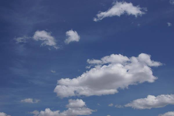 Deep Blue Sky And Fluffy Cumulous Cloud Poster
