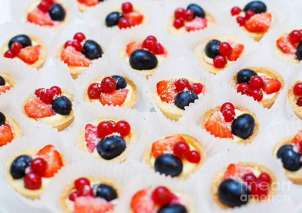 Dessert For Holiday. Fruit Tart With Poster