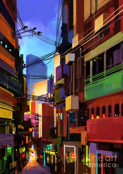 Digital Painting Of Colorful Buildings Poster