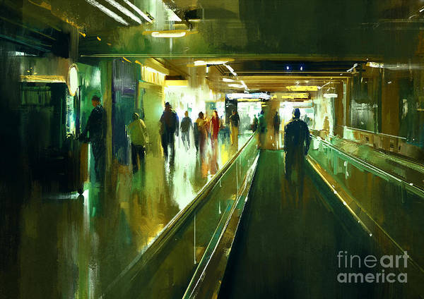 Digital Painting Of People Walking In Poster