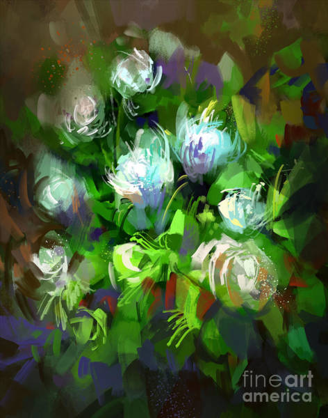 Digital Painting Showing Bunch Of White Poster