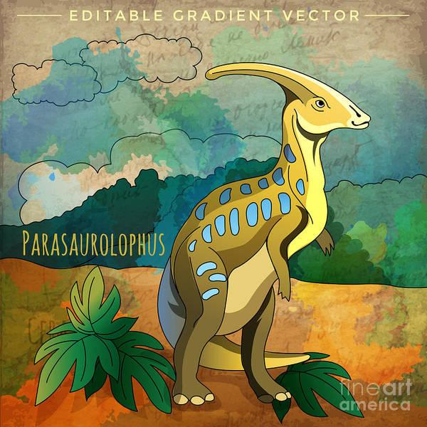 Dinosaur In The Habitat. Vector Poster