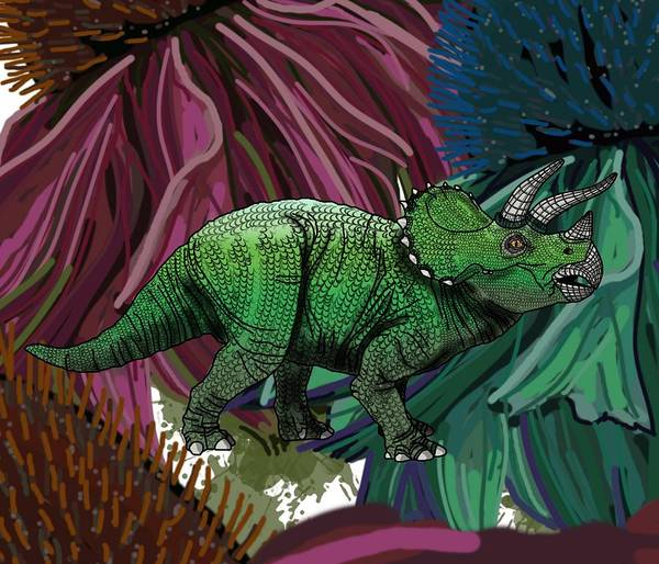 Poster featuring the drawing Dinosaur Triceratops Flowers by Joan Stratton