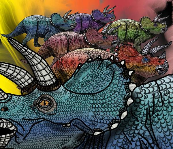 Poster featuring the drawing Dinosaur Triceratops Herd by Joan Stratton