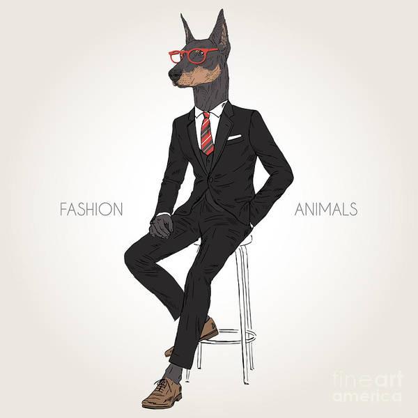 Doberman Pinscher Dog Dressed Up In Poster