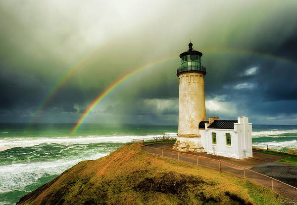 Double Rainbow At North Head Lighthouse Poster