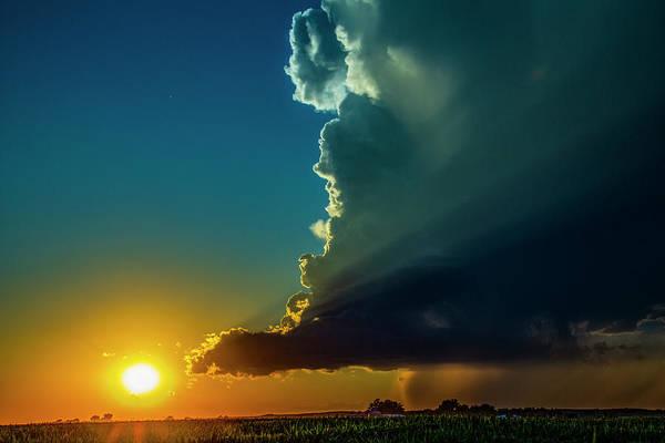 Dying Nebraska Thunderstorms At Sunset 068 Poster