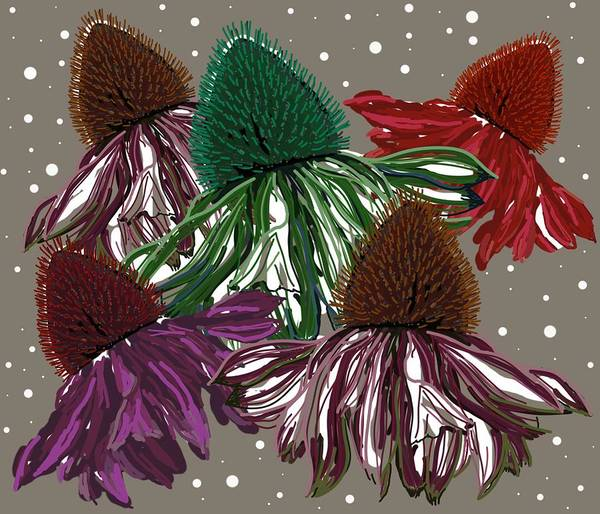 Poster featuring the digital art Echinacea Flowers Dance by Joan Stratton
