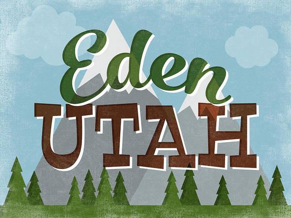 Eden Utah Retro Mountains Poster