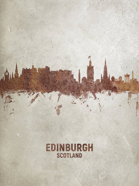 Edinburgh Scotland Rust Skyline Poster