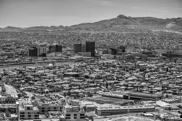 Poster featuring the photograph El Paso, Texas And Ciudad Juarez Skyline Black And White by Chance Kafka