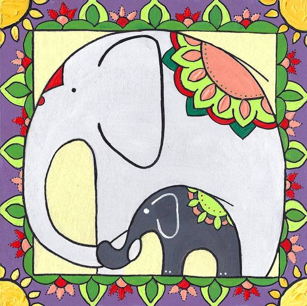 Poster featuring the painting Elephant And Child 6 by Caroline Sainis