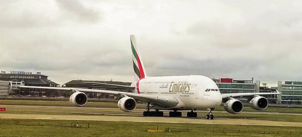 Emirates Airbus A380-800 At London Heathrow Airport Poster