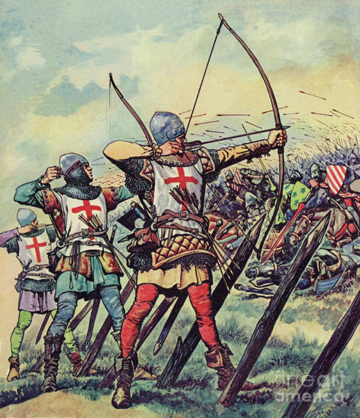 English Bowmen At The Battle Of Crecy Poster