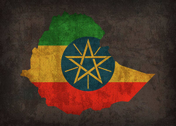 Ethiopia Country Flag Map Poster