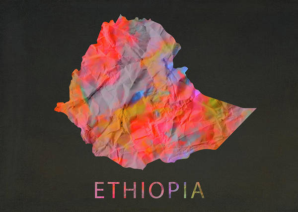 Ethiopia Tie Dye Country Map Poster