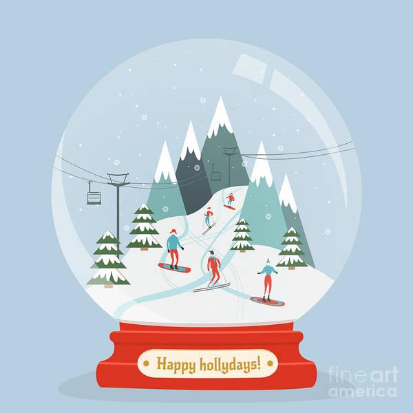 Fabulous Glass Ball With Ski Resort Poster