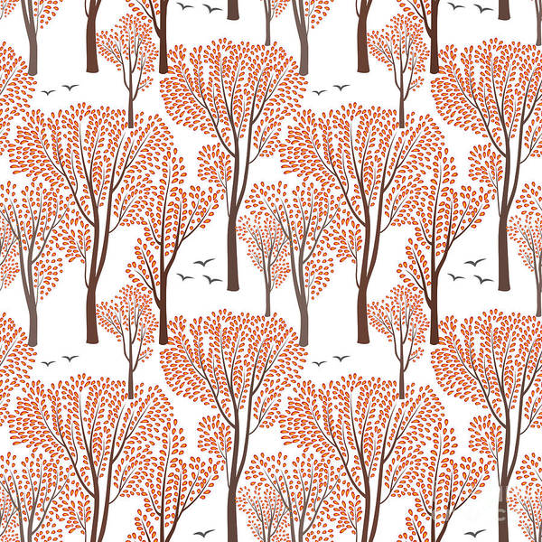 Fall Nature Wildlife Seamless Pattern Poster
