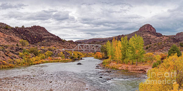 Fall Panorama Of Rio Grande Del Norte At Orilla Verde And Taos Canyon - New Mexico Desert Southwest Poster