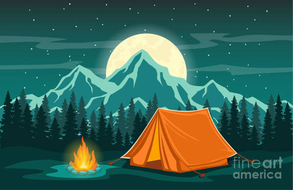Family Adventure Camping Evening Scene Poster