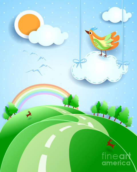 Fantasy Landscape With Bird, Vector Poster