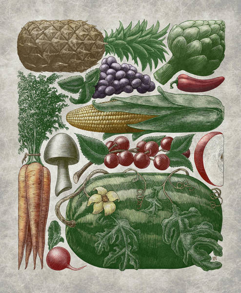 Poster featuring the drawing Farmer's Market - Color by Clint Hansen