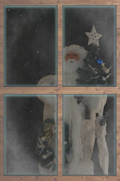 Father Christmas In Window Poster