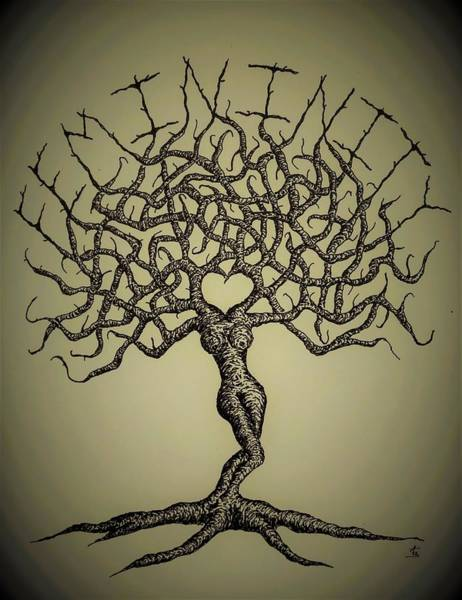 Poster featuring the drawing Femininity Love Tree B/w by Aaron Bombalicki
