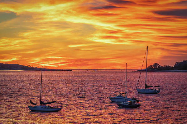 Fiery Sunrise Over Casco Bay Poster