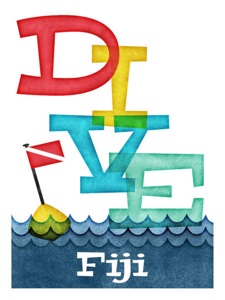 Fiji Dive - Colorful Scuba Poster