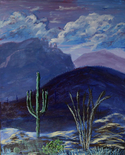 Poster featuring the painting Finger Rock Evening, Tucson by Chance Kafka